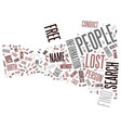 free find lost people text background word cloud vector image vector image