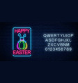 glowing neon sign easter bunny with eggs vector image vector image