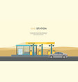 gray car at the gas station in the desert vector image