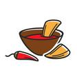 hot dip with nachos vector image vector image