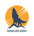 howling wolf emblem vector image vector image