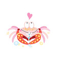 in love funny crab on a white background vector image vector image