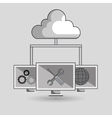 laptop cloud wifi padlock vector image vector image