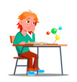 little boy in the class of chemistry physics vector image vector image