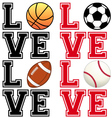 love sport soccer football basketball baseball vector image