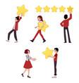 man big star customer review concept vector image vector image