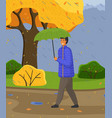 man in blue jacket and pants carries umbrella vector image