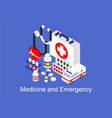 medicine and emergency banner with medical vector image vector image