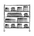 monochrome blurred silhouette of rack with stack vector image vector image
