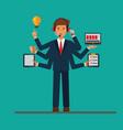 multitasking successfull businessman at work in vector image