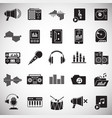 music and sound icons set on white background for vector image
