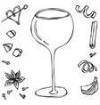 oversized wine coctail glass hand drawn vector image vector image