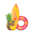 pineapple surfboard set icons vector image vector image