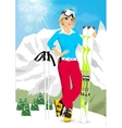pretty blonde woman standing with mountain skis vector image vector image
