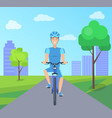 pretty cyclist in blue suit vector image vector image