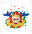 princess emblem skull in crown surrounded by vector image