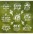 Raw vegan labels and badges vector image vector image