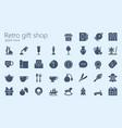 retro gift shop glyphset vector image vector image