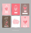 romantic card with heart in cages for wedding vector image