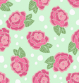 Rose seamless pattern on a polka-dot background vector image