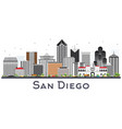 san diego california city skyline with gray vector image vector image