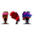 set african scarf portrait afro women in a turban vector image vector image