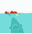 shark jaws attack woman swimming at sea water vector image vector image