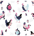 sketch hen and chicken in abstract style vector image