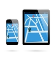Smartphone tablet location vector image vector image