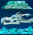 snow-covered skull of dragon isolated on blue vector image