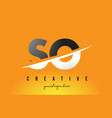 so s o letter modern logo design with yellow vector image vector image