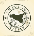 Stamp with map of Sicily vector image vector image