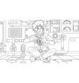 teen boy fixes repairs part vector image