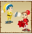 Two elf character for household chores vector image vector image