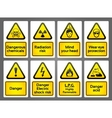 warning signs labes vector image vector image