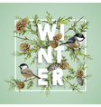 Winter Christmas Design in Winter Birds with Pines vector image