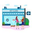 women shake hands outside veterinarian clinic vector image vector image