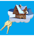 Wooden house on a cloud with keys vector image vector image