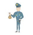 young caucasian policeman holding a money bag vector image vector image