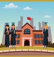 young students in highschool building vector image vector image
