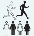 Man and woman icon Running man vector image