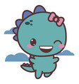 a dinosaur happy girl flies in clouds good day vector image