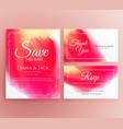 abstract watercolor wedding invitation card set vector image vector image