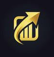 arrow up business finance gold logo vector image vector image