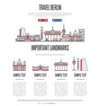 berlin travel infographics in linear style vector image vector image