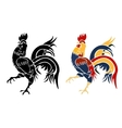 Black and roosters painted on a white background vector image