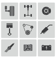 black car parts icons set vector image vector image