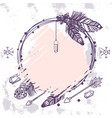 boho style wreath with feathers crystals and vector image