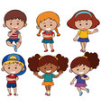 boys and girls with happy smile vector image vector image