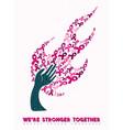breast cancer awareness pink ribbon hand tree art vector image vector image